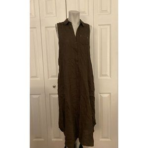 Anthropologie Brown Button Up Sleeve Less Dress XS